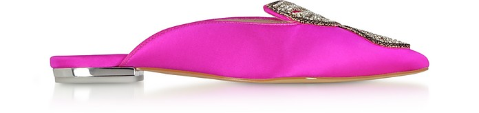 Fuchsia and Silver Satin Bibi Butterfly Crystal Slippers - Sophia Webster