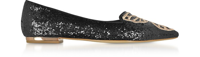 Black and Rose Gold Bibi Butterfly Flat Ballerinas - Sophia Webster