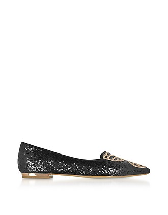 a7d6a29848f Black and Rose Gold Bibi Butterfly Flat Ballerinas - Sophia Webster