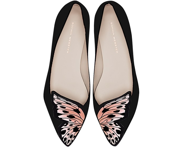 Butterfly Embroidery Black & Nude Leather and Silk Flats - Sophia Webster