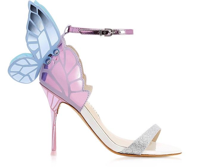 Chiara Silver & Pastel Leather Mid Sandals - Sophia Webster