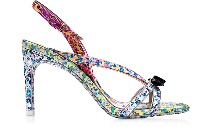 Laurellie Multi Floral Canvas & Leather Mid Sandals - Sophia Webster