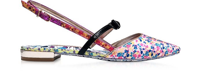 Laurellie Multi Floral Canvas & Leather Flats - Sophia Webster
