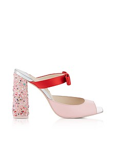 Red Satin and Pink Leather Andie Mules - Sophia Webster