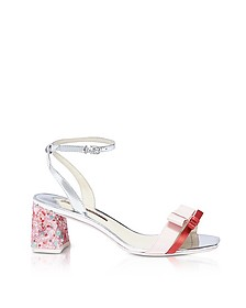 Red Satin and Pink Leather Andie Mid Heel Sandals - Sophia Webster