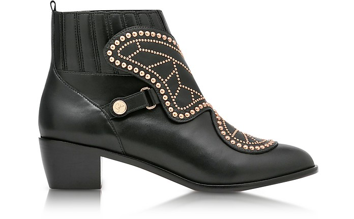 Black Studded Leather Karina Mid Ankle Boots - Sophia Webster