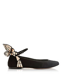 Black and Rose Gold Suede Chiara Ballet Flat - Sophia Webster