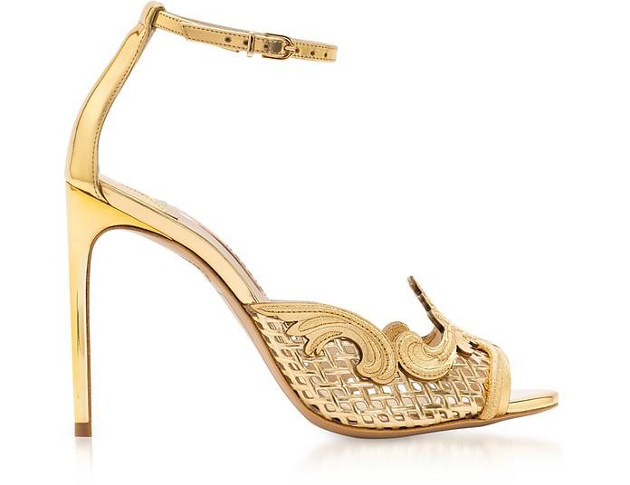 Golden Mirror Leather and Mesh Rivera Sandal - Sophia Webster