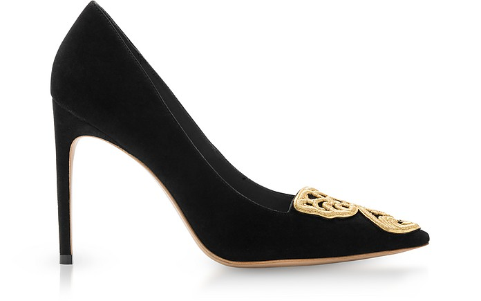 Black Suede Bibi Butterfly Rivera Pump  - Sophia Webster