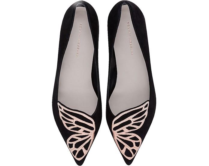 Black Suede and Rose Gold Bibi Butterfly Flat Ballerinas - Sophia Webster