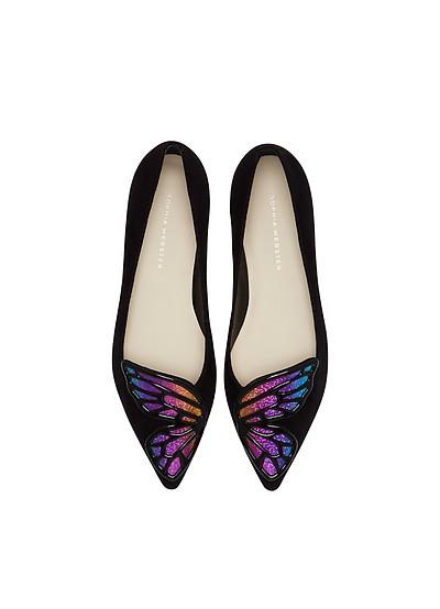 Bibi Butterfly flache Ballerina aus Leder in schwarz - Sophia Webster