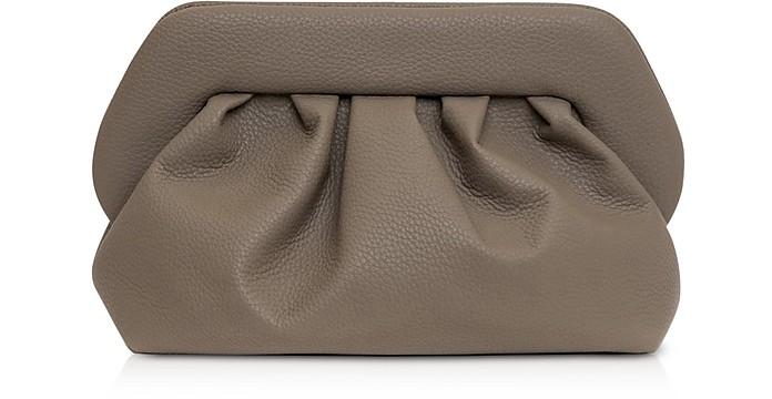 Mushroom Grained Leather Pouch Bag - THEMOIRÉ