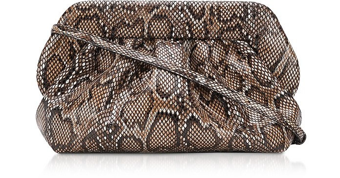 Dark Python Printed Eco Leather Pouch Bag - THEMOIRÉ
