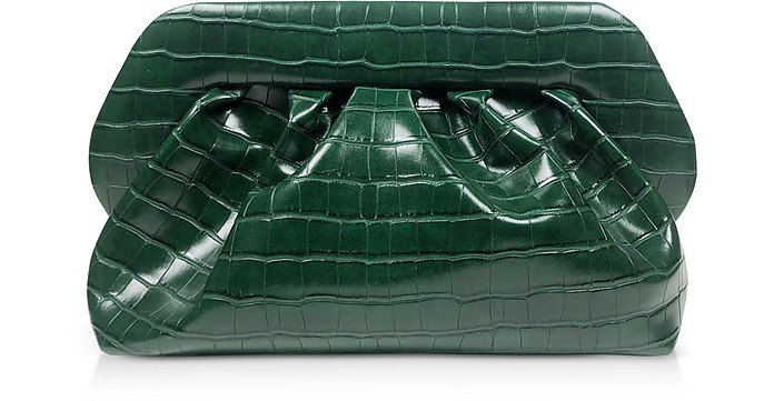 Green Croco Embossed Eco-Leather Pouch Bag - THEMOIRÉ