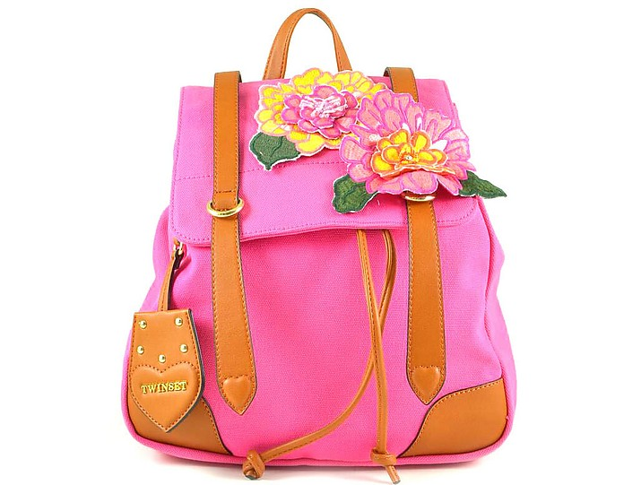 Pink Cotton Backpack w/Flowers - TWIN SET