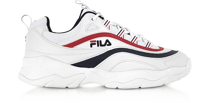 Ray Low White, Navy Blue & Red Men's Sneakers - FILA