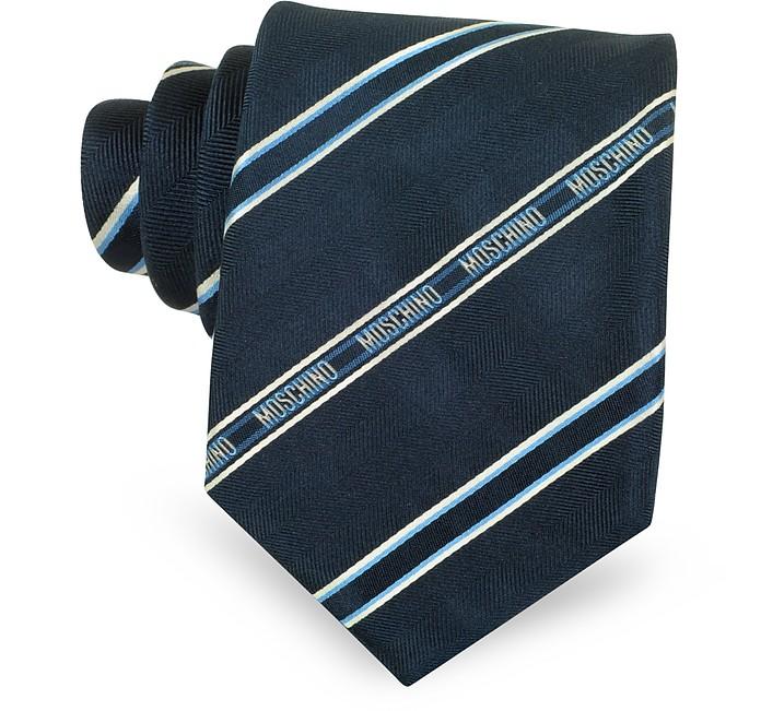 Blue Signature Striped Woven Silk Tie - Moschino