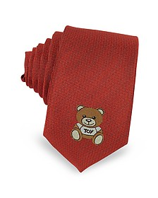 Cravatta Slim in Twill di Seta con Logo Teddy Bear - Moschino