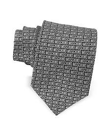 Moschino Signature Krawatte aus bedruckter Seide in schwarz & grau - Moschino