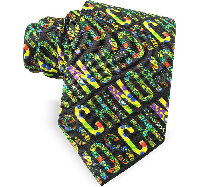 Black & Multicolor Moschino Signature Print Twill Silk Narrow Tie - Moschino