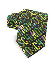 Black & Multicolor Moschino Signature Print Twill Silk Narrow Tie - Moschino