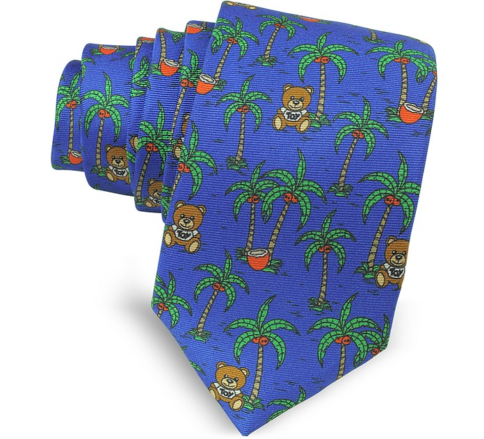 Blue Palms and Teddy Bears Narrow Krawatte aus Twillseide - Moschino