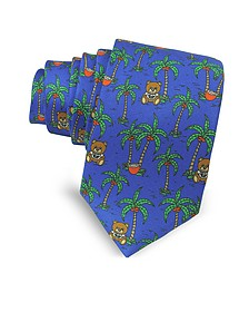 Blue Palms and Teddy Bears Printed Twill Silk Narrow Tie - Moschino