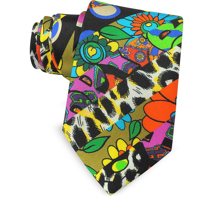 Multicolor Animal Print & Flowers Printed Twill Silk Narrow Tie - Moschino