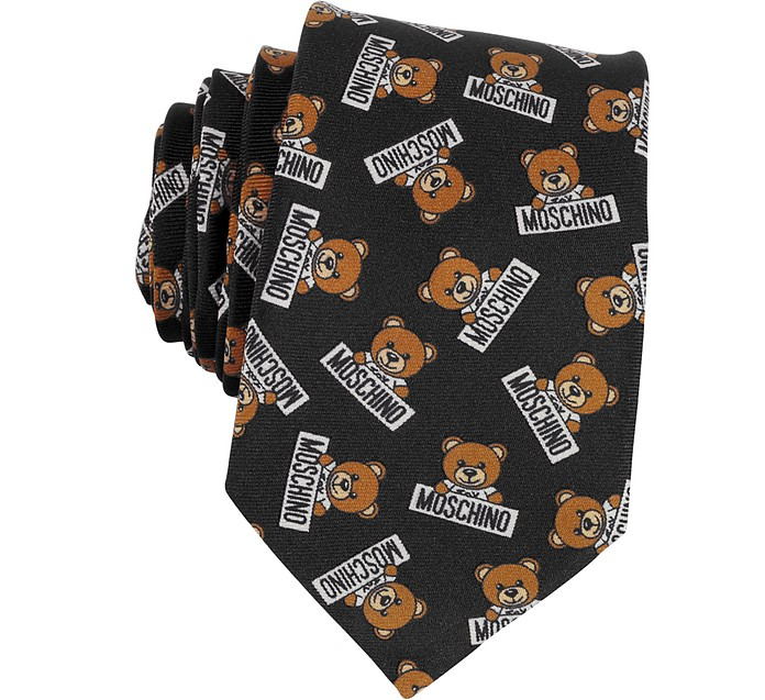 Teddy Bear All Over Printed Silk Narrow Tie - Moschino