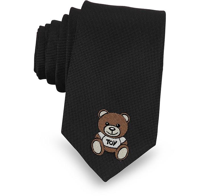 Teddy Bear Woven Silk Narrow Tie - Moschino