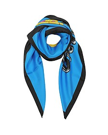 Blue and Black Pure Silk Teddy Bear Square Scarf - Moschino