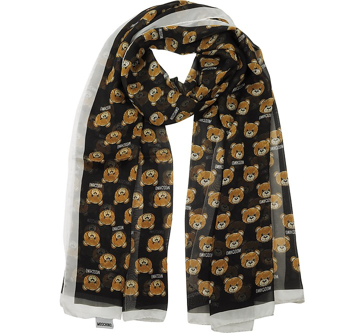 All-over Teddy Bear Printed Mussoline Silk Stole - Moschino