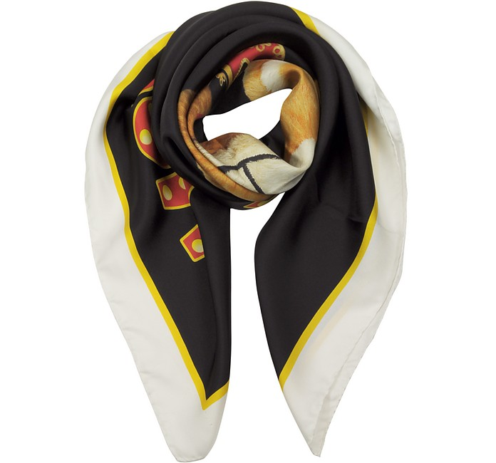 Circus Teddy Bear Twill Silk Square Scarf - Moschino 摩斯基诺