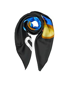 Transformers Teddy Bear Print Silk Square Scarf - Moschino