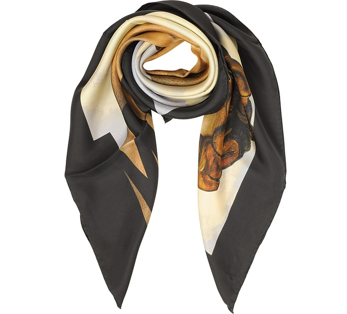 Signature Printed Twill Silk Square Scarf - Moschino