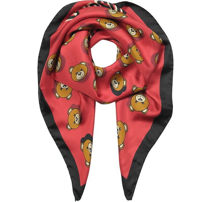 Teddy Bear Printed Silk Square Scarf  - Moschino