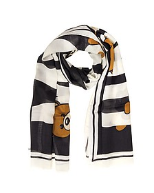 Teddy Bear Printed Cashmere, Wool and Silk Stole - Moschino