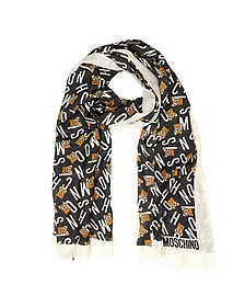 All Over Signature and Teddy Bear Printed Modal and Cashmere Stole - Moschino