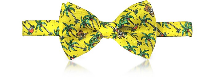 Yellow Palms and Teddy Bears vorgebundene Schleife aus Twillseide  - Moschino
