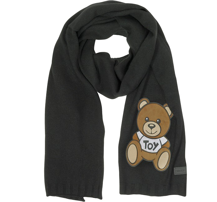 Teddy Bear Black Wool Long Scarf - Moschino