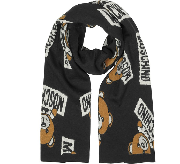 All Over Teddy Bear Woven Wool Scarf - Moschino