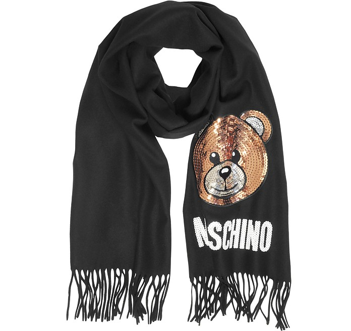 Sequin Teddy Bear Fringed Wool Scarf - Moschino