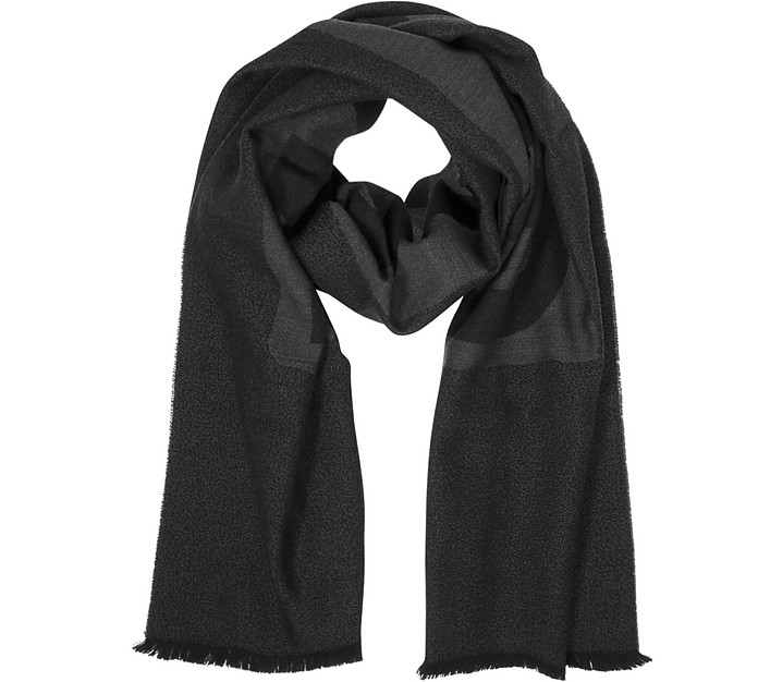 Dark Gray Signature Wool Scarf - Moschino