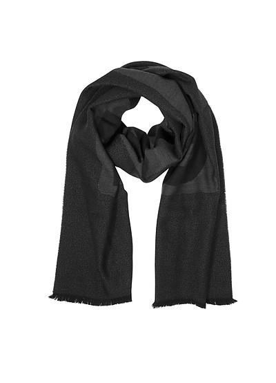 Dark Gray Signature Wool Scarf - Moschino