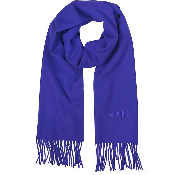 Solid Wool Signature Long Scarf w/Fringe - Moschino