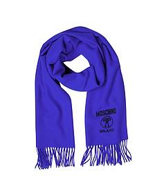 Solid Wool Logo Long Scarf w/Fringe - Moschino