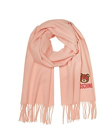 Heart Eyed Teddy Bear Solid Wool Long Scarf w/Fringes - Moschino