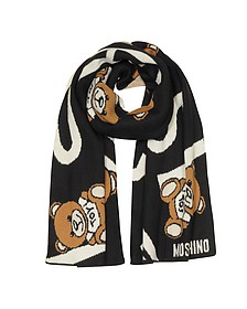Moschino Signature and Teddy Bears Black/White Wool Blend Long Scarf - Moschino