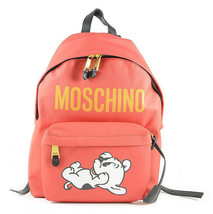 Mandarin Coated Canvas and Leather Backpack - Moschino
