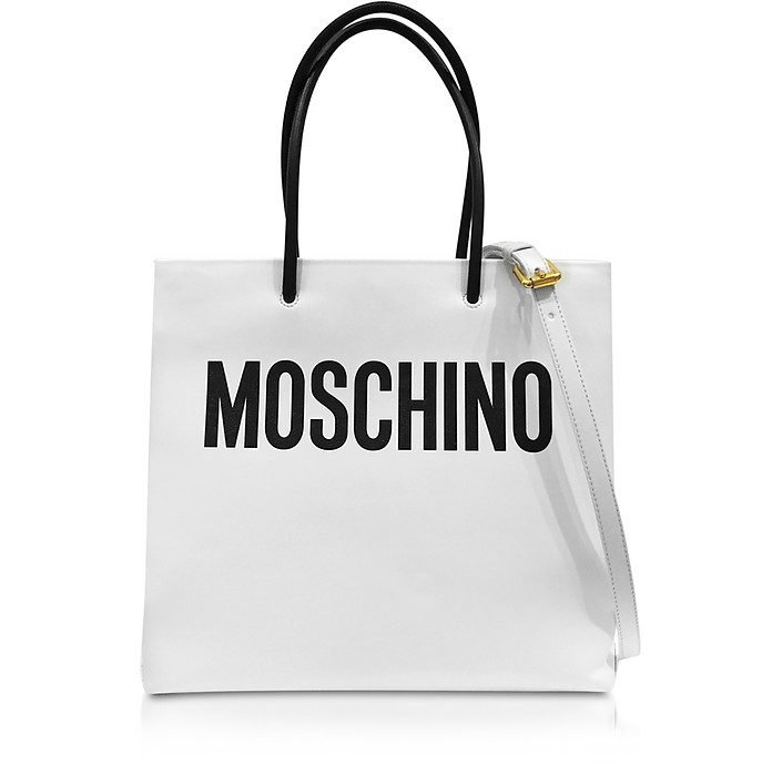 White and Black Signature Leather Vertical Tote - Moschino
